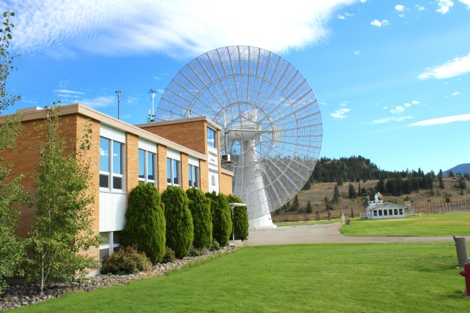 NRC Offices with the 26 Meter Dish Telescope in the background.